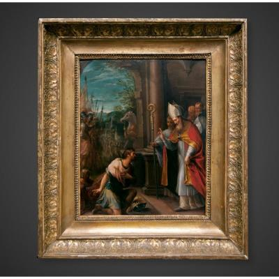 Antique 17th Century Oil On Copper Painting By Francesco Allegrini