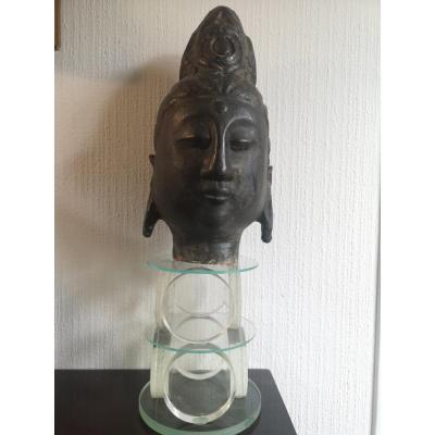 Tête Bouddha En Terre Cuite