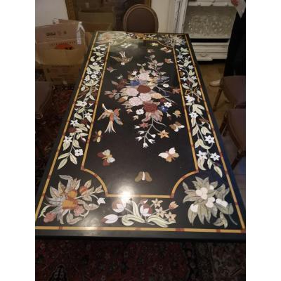 Table Marqueterie De Marbre Decor Floral, Oiseaux