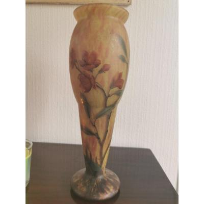 Vase En Pâte De Verre Signé Lysiès Fleurs