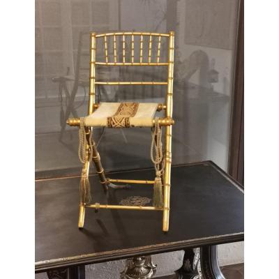 Chaise De Théâtre Napoléon III, Dorée à La Feuille d'Or