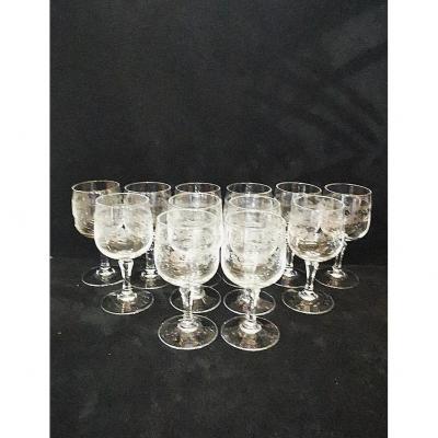 Set Of 12 Floral Decor Crystal Wine Glasses