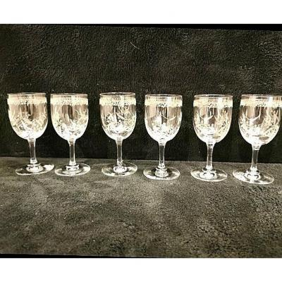Suite Of Six Engraved Crystal Glasses