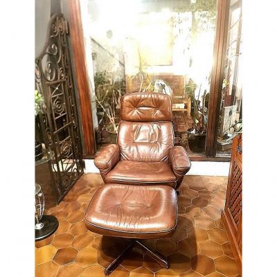 Vintage Scandinavian Leather Footstool