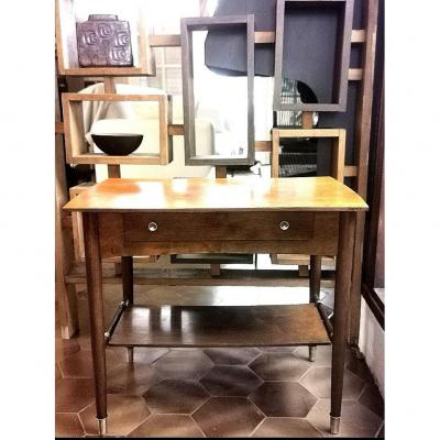 Vintage Scandinavian Table 50/60, Solid Teak, Gilt Bronze