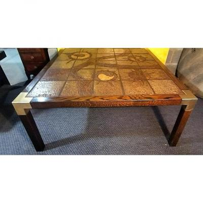 Scandinavian Design 50/60 Coffee Table Signed Earthenware