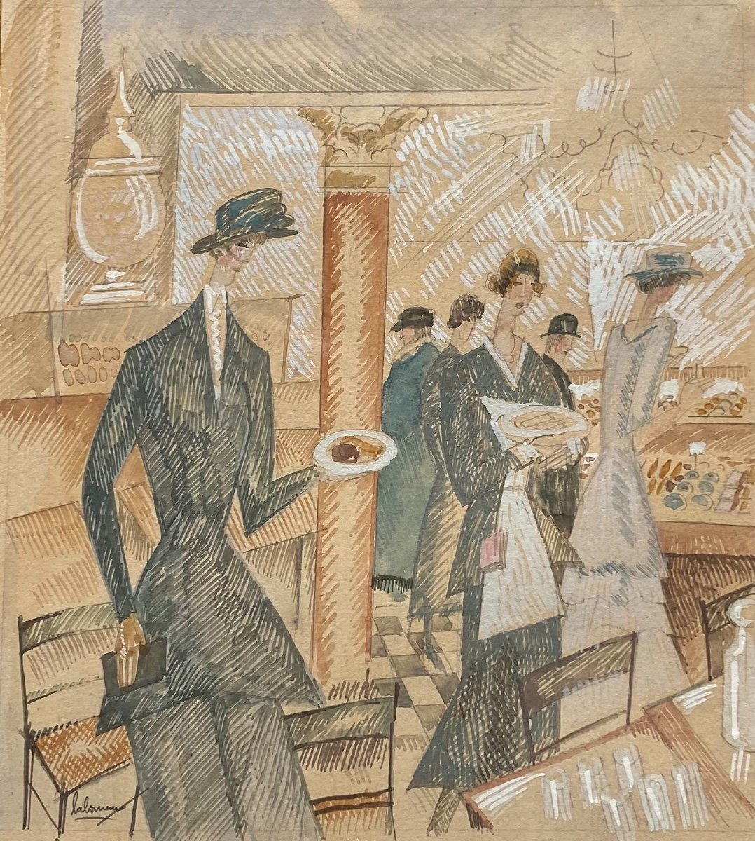 «Le Salon de Thé» - Jean Émile Laboureur (1877-1943)