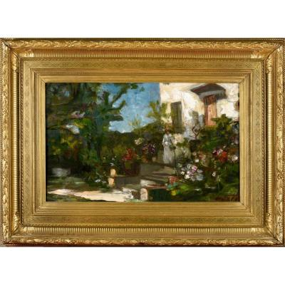 """""""flower Garden In Front Of The Artist's House"""" - Jacques Martin (1844-1919)"""