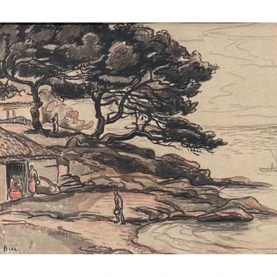 Aquarelle et graphite «La Pointe de Gouron» - Jean Peské (1870-1949)