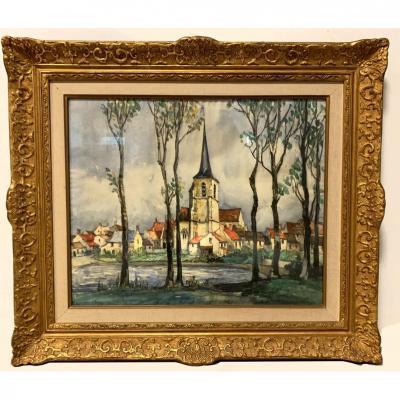 Aquarelle et pastel «Vue de village» -Frank Will (1900-1951)