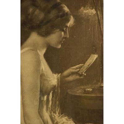"Very Beautiful Print ""woman With The Letter"" -delphin Enjolras (1857-1945)"
