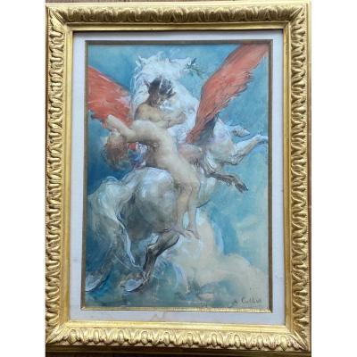 Exceptionnelle aquarelle «Faune chevauchant Pégase» - Antoine Calbet (1860-1942)