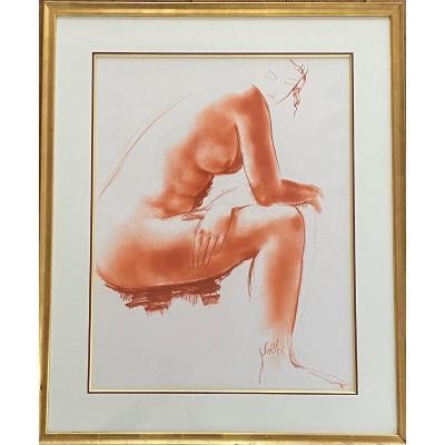 Superbe sanguine «Nu assis» - Antoniucci Volti (1915-1989)