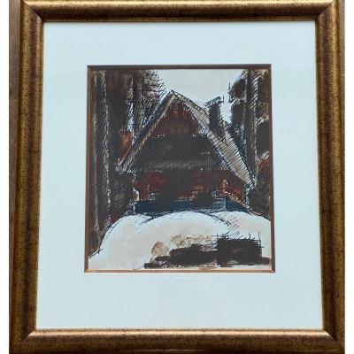 Encre et lavis d'encre «Chalet montagnard» - Marcel Gromaire (1892-1971)