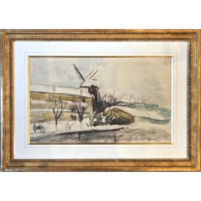 Exceptionnelle Aquarelle «Moulin de la Galette Sous La Neige» - Charles Camoin (1879-1965)