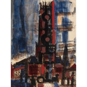 Marcel Gromaire (1892-1971) - Magnifique Aquarelle Sur Trait De Plume Et Encre Noire