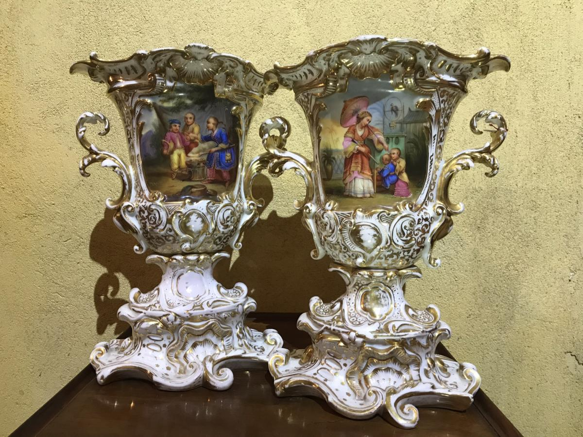 "Pair Of Vases Charles X Porcelain Of Paris - Model Said ""to The Chinese"""