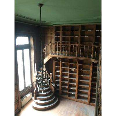 Very Important Woodwork Set With Stair Forming Library