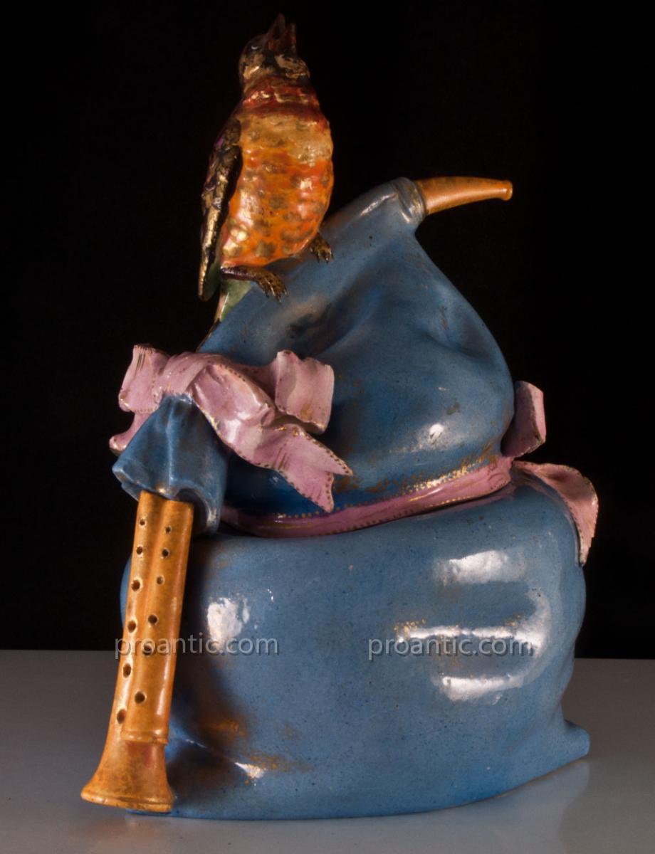 Edouard Gilles Pot Couvert Cornemuse Et Oiseau En Céramique