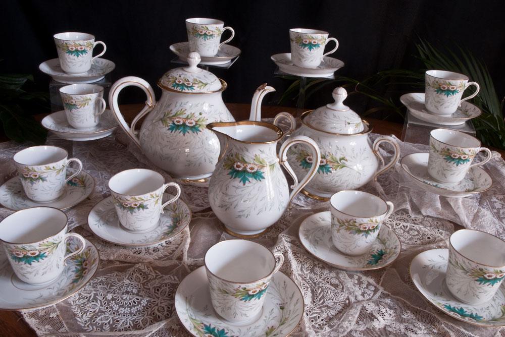 Jean Pouyat Limoges Service à Thé Café En Porcelaine Décor Marguerites