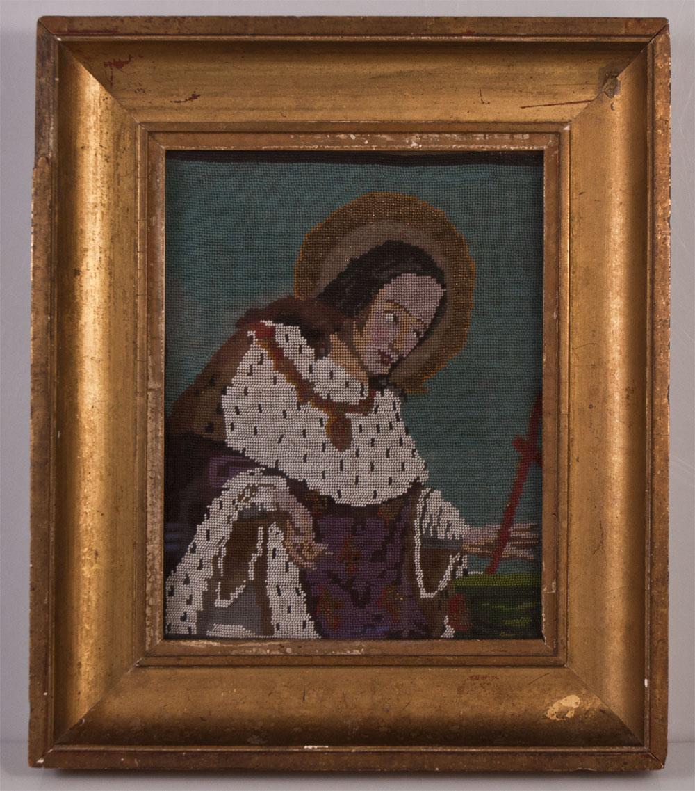 Tableau En Broderie De Perles  ( Saint Jean ?)