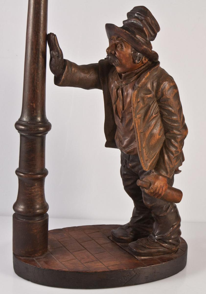 The Drunkard Lamp Carved Wood