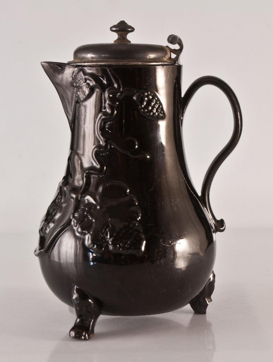 Pitcher Pot Milk In Black Earthenware De Namur Brussels Belgium Cover Silver 18th