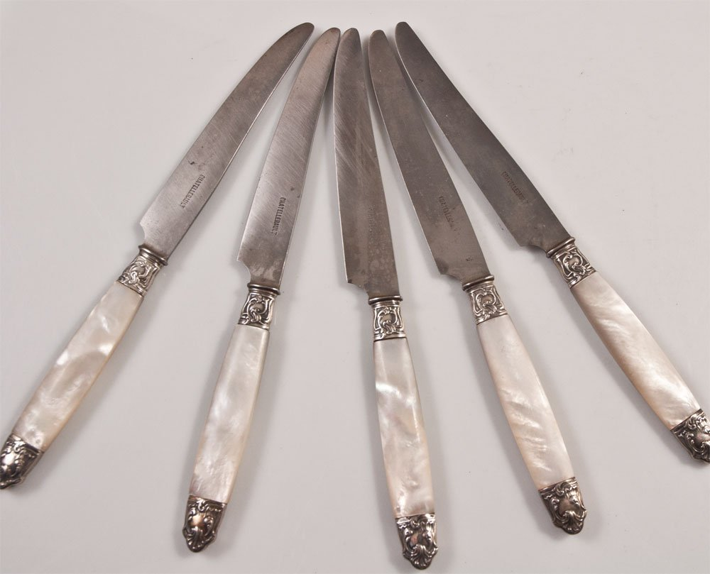 Chatellerault 5 Pocket Knives Mother Of Pearl Ferrule Silver
