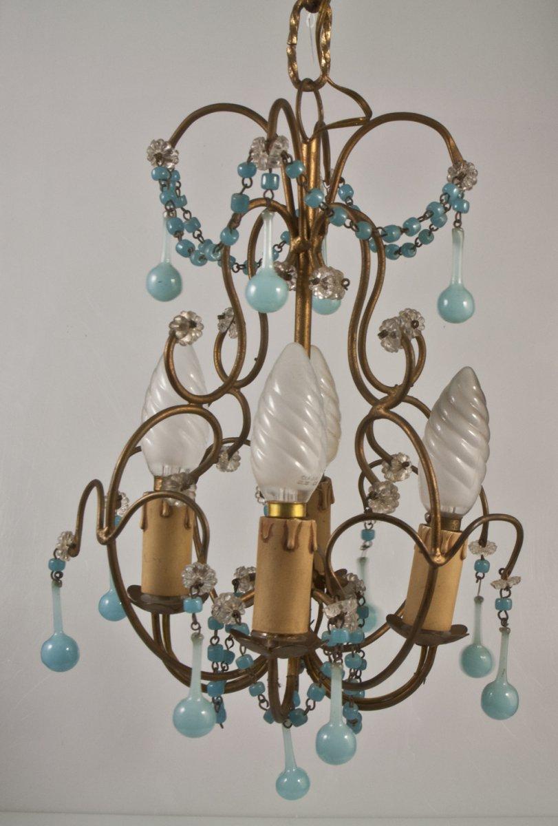Chandelier + 2 Sconces With Blue Opaline Drops Tassels 1950-photo-3