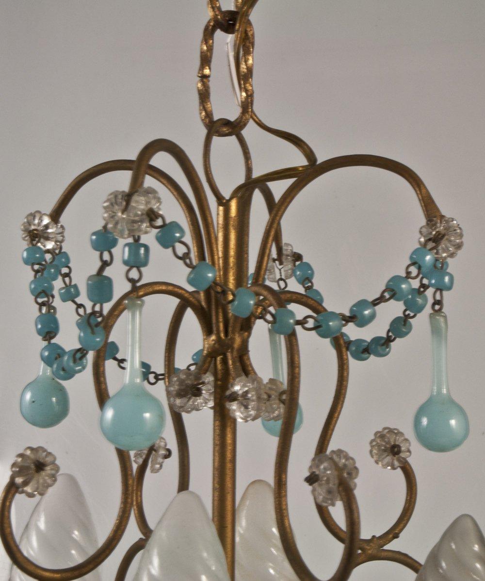 Chandelier + 2 Sconces With Blue Opaline Drops Tassels 1950-photo-4