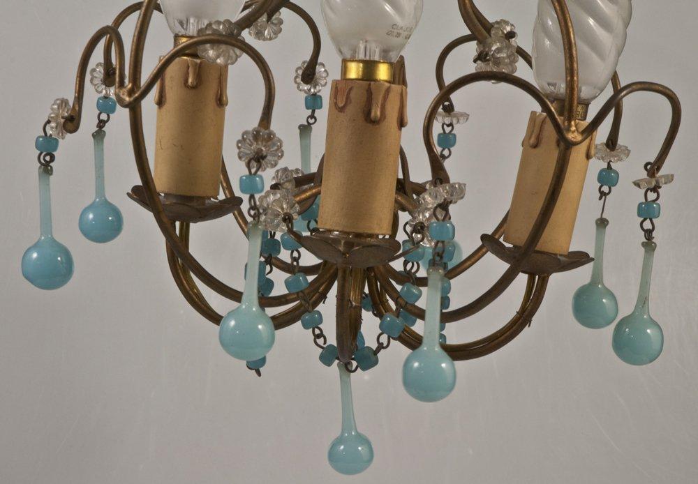 Chandelier + 2 Sconces With Blue Opaline Drops Tassels 1950-photo-1