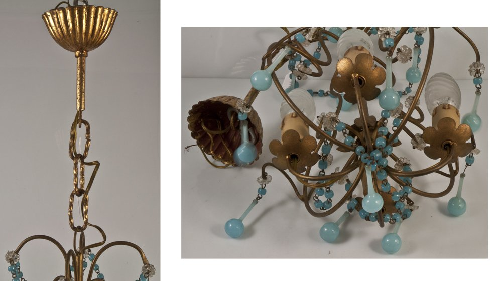 Chandelier + 2 Sconces With Blue Opaline Drops Tassels 1950-photo-2