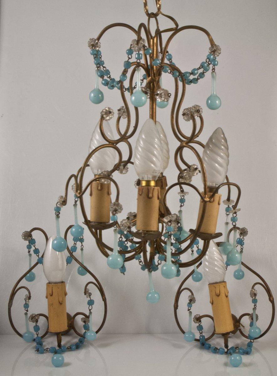 Chandelier + 2 Sconces With Blue Opaline Drops Tassels 1950