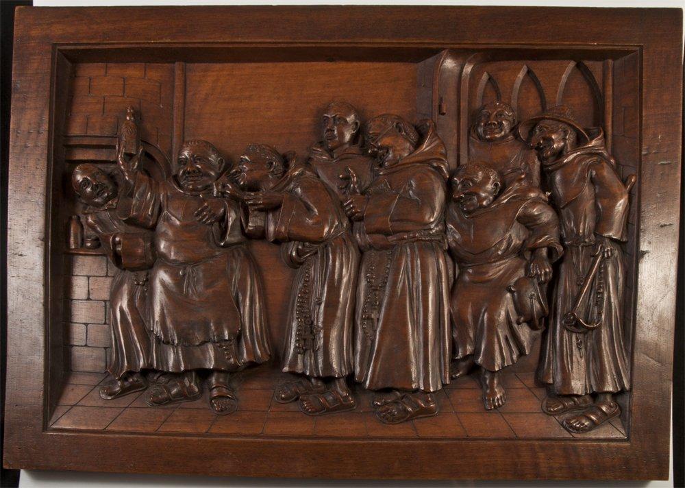 Panneau De Noyer Sculpté Beuverie De Moines/ PASTIS  /BIERE / PUBLICITAIRE