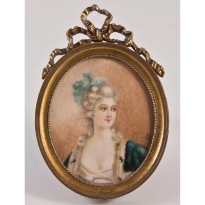 Miniature Portrait De Jeune Femme 1804 Signée J.j.