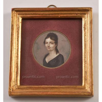 Miniature Portrait De Jeune Femme