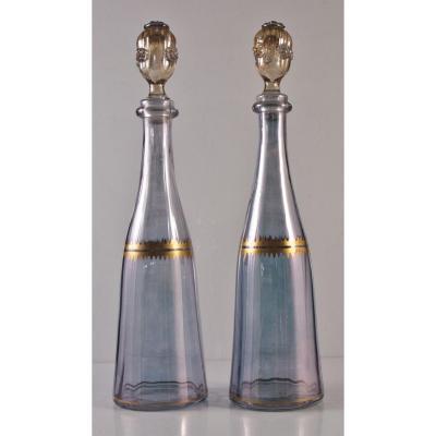 Paire De Carafes à liqueur  En Cristal Violine