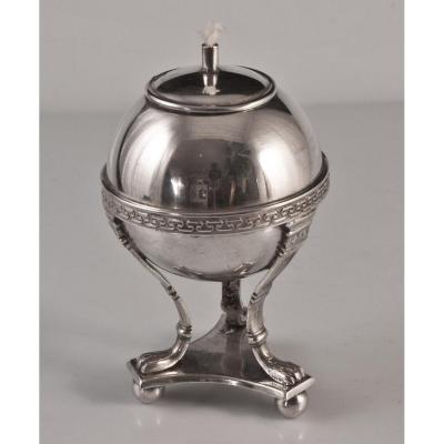 lampe à huile en métal argenté WMF