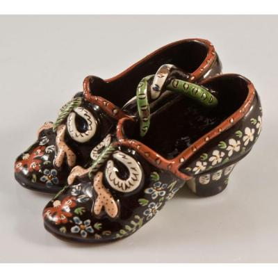 Miniature Clogs In Earthenware From Thun Switzerland