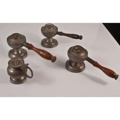 Collection Of Oil Lamps In Pewter