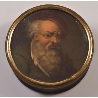 Miniature Horn Box Portrait Of Bearded Man
