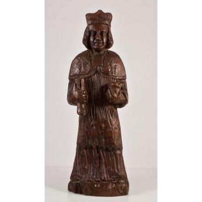 Saint Yves Statue En Bois Sculpté