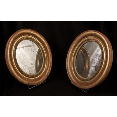 Paire De Cadres miroirs Ovales En Stuc Doré Louis Philippe
