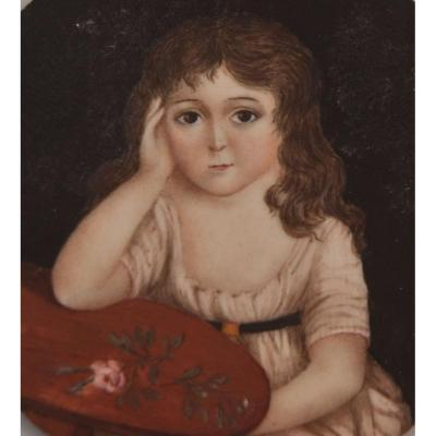 Miniature Portrait Of Young Girl Caroline De Conflans (?)