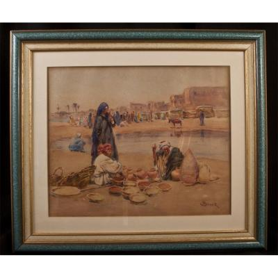 Alphonse Birck (1859-1942): Orientalist Watercolor Pottery Market