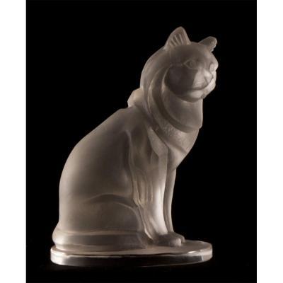 Art Deco Cut Crystal Cat