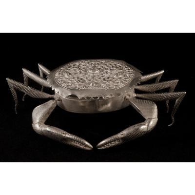 Grand Boite Crabe En Argent Cambodge