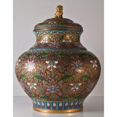 China Cloisonne Metal Ginger Jar