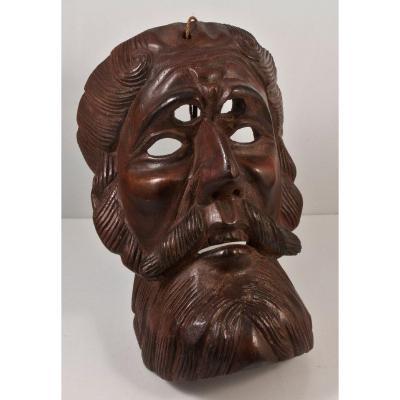 Masque De Théatre En Bois Sculpté conquistador