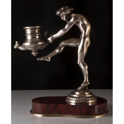 Bougeoir Au Faune Bronze Argenté Grand Tour